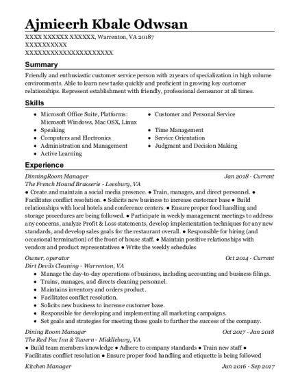 Owner resume template Virginia