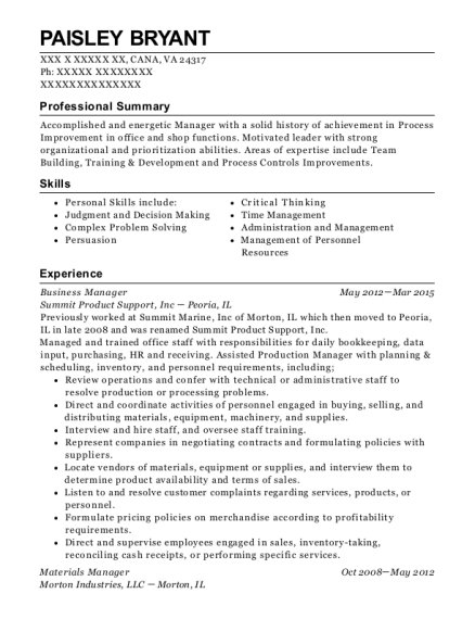 Business Manager resume format Virginia