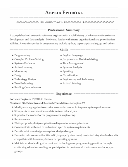 Software Engineer resume format Virginia