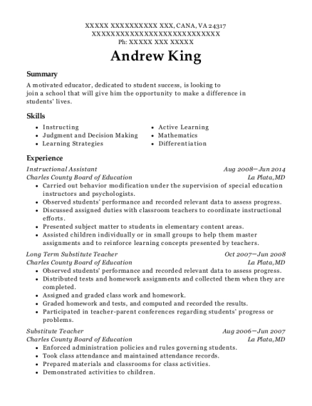 Instructional Assistant resume example Virginia