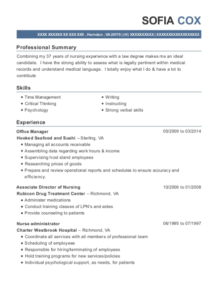 Office Manager resume example Virginia