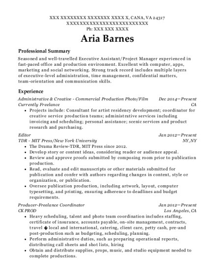 Administrative & Creative Commercial Production Photo resume format Virginia