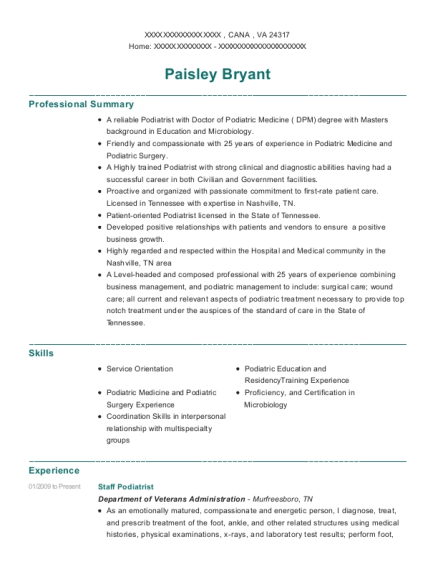 Staff Podiatrist resume sample Virginia