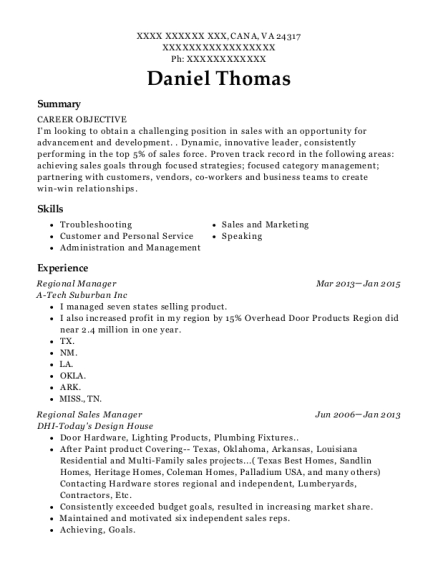 Regional Manager resume example Virginia