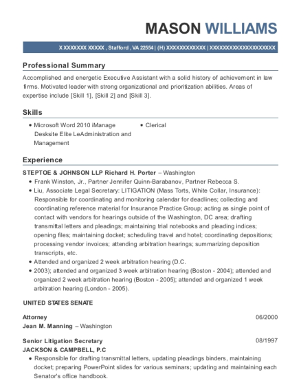 Attorney resume example Virginia