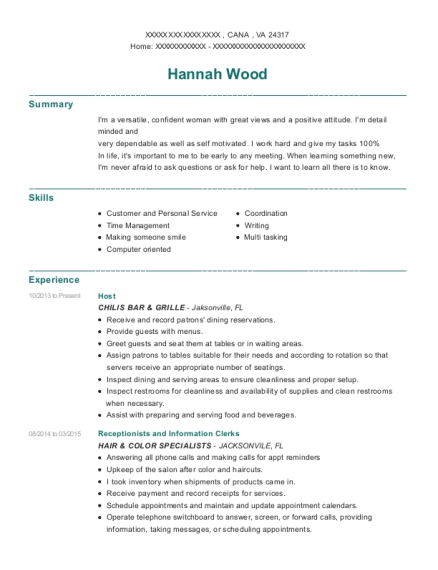 Host resume format Virginia