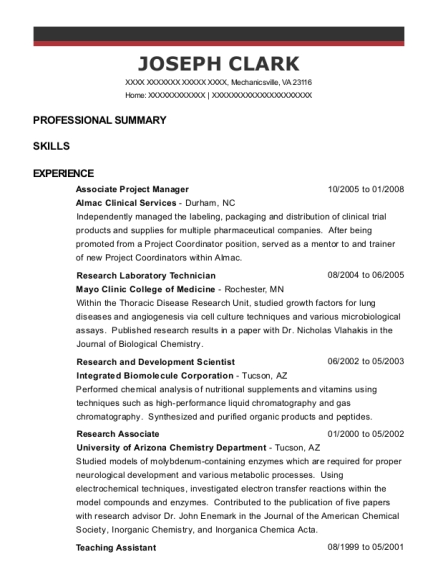 Associate Project Manager resume template Virginia