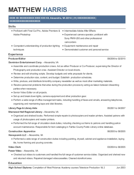 Producer resume template Virginia