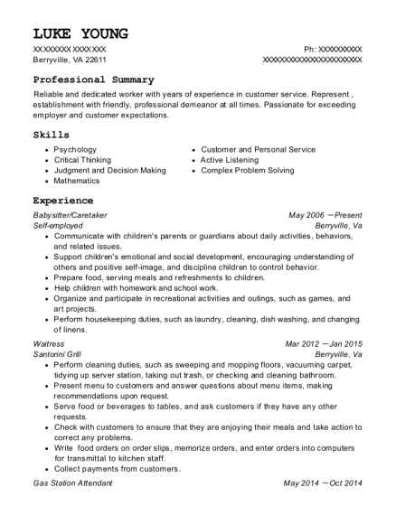 Babysitter resume sample Virginia