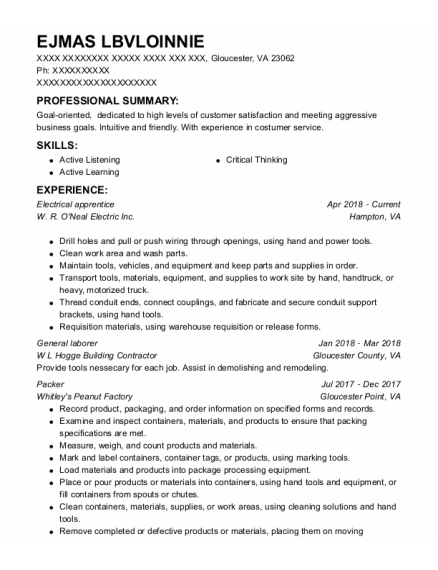 Electrical Apprentice resume example Virginia