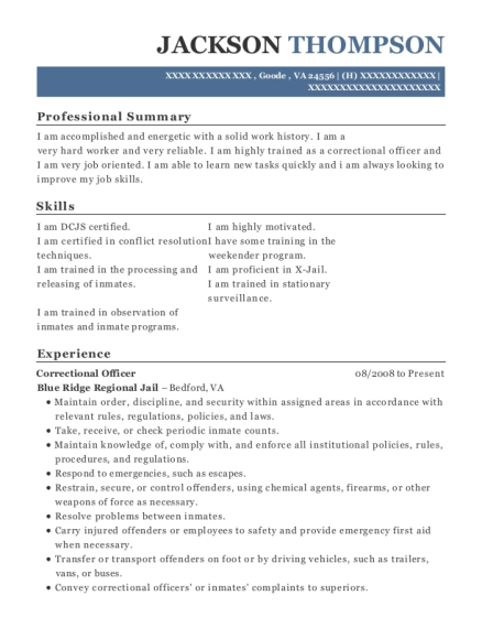 Correctional Officer resume template Virginia