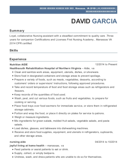 Nutrition AIDE resume format Virginia