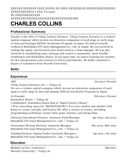 CEO resume example Virginia