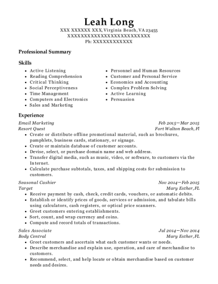 Email Marketing resume format Virginia