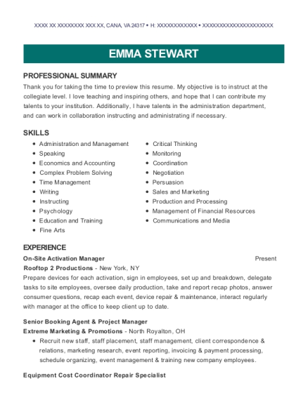 On Site Activation Manager resume example Virginia