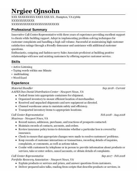 Material Handler resume sample Virginia