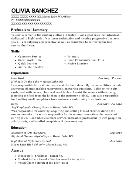 Lead Host resume template Washington
