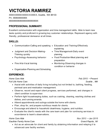 Home Care Aide resume format Washington