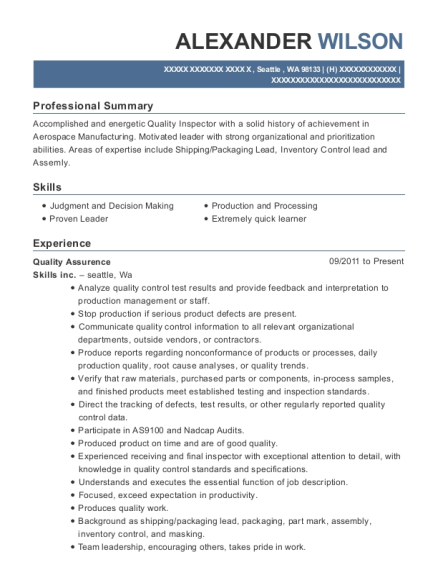 Quality Assurence resume format Washington