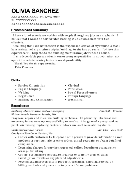 Building Maintenance and Landscaping resume format Washington