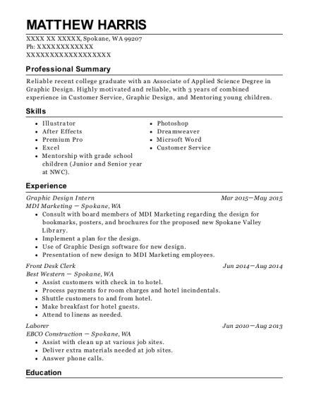 Graphic Design Intern resume example Washington