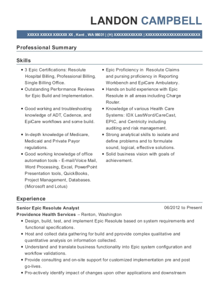 Providence Health Services Senior Epic Resolute Analyst Resume