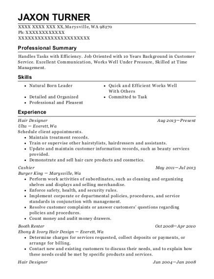 Hair Designer resume sample Washington