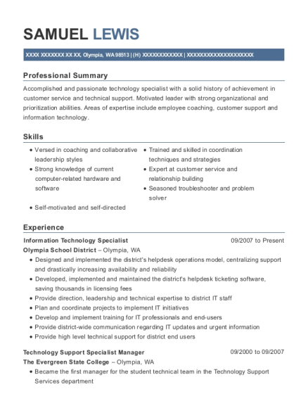 Information Technology Specialist resume format Washington