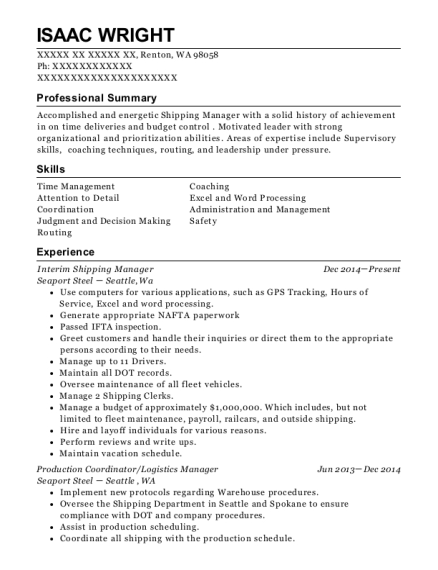 Interim Shipping Manager resume format Washington