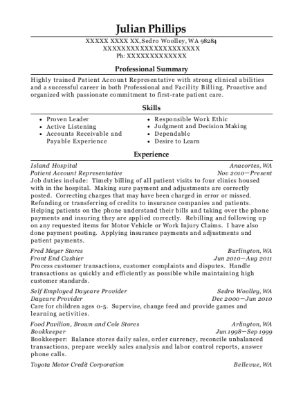 Patient Account Representative resume template Washington