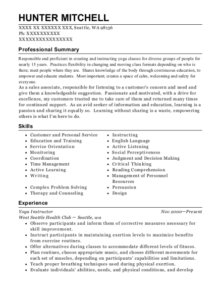Yoga Instructor resume example Washington