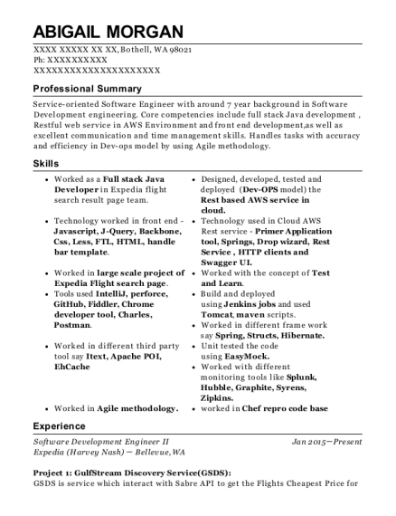 Expedia Harvey Nash Software Development Engineer Ii Resume Sample