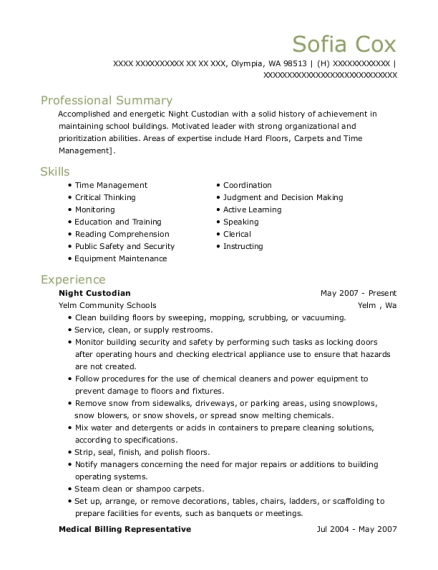 Night Custodian resume format Washington