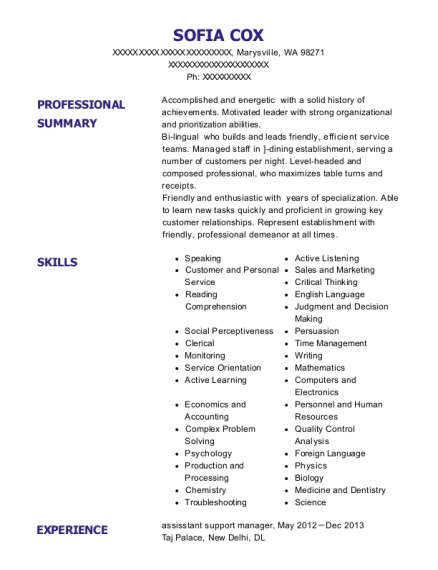 assisstant support manager resume example Washington