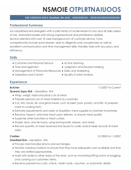 Butcher resume example Washington