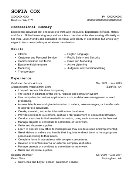 Customer Service Advisor resume template Washington