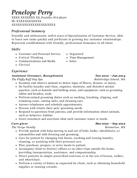 Assistant Groomer resume example Washington