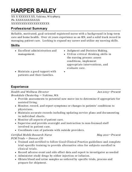 Health and Wellness Director resume example Washington