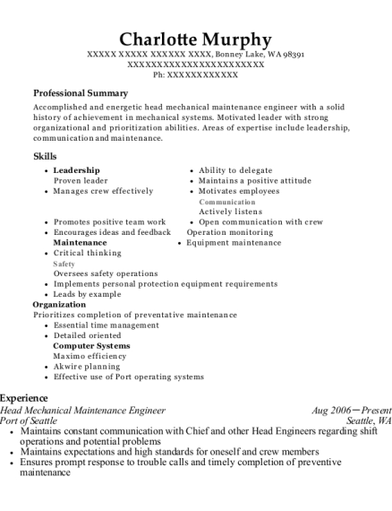 Head Mechanical Maintenance Engineer resume format Washington