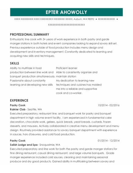 Best Pastry Cook Resumes