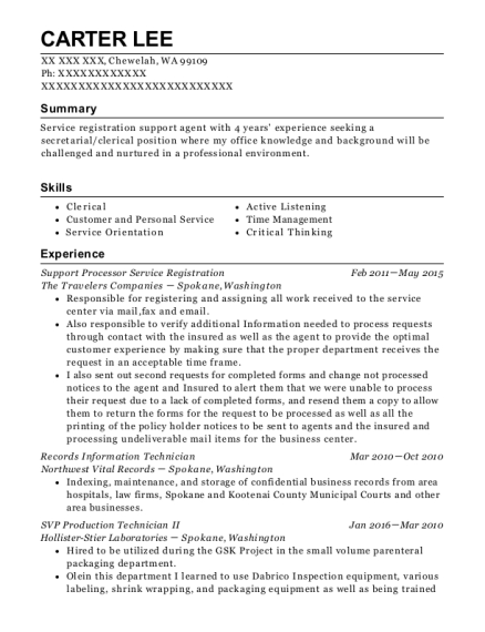Support Processor Service Registration resume example Washington