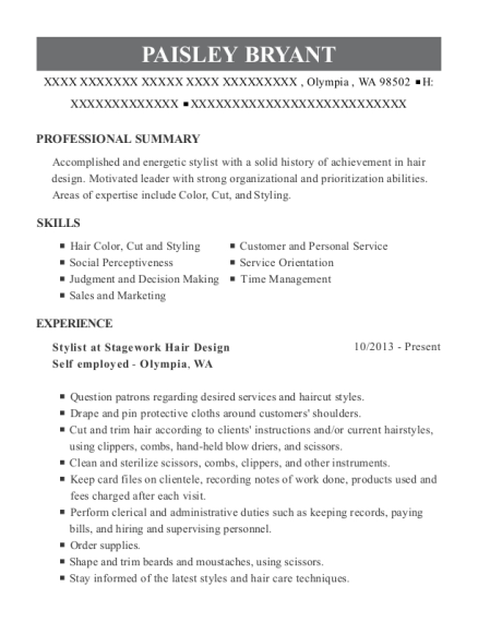 Stylist at Stagework Hair Design resume sample Washington