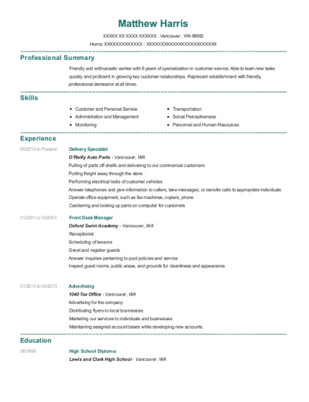 Delivery Specialist resume template Washington