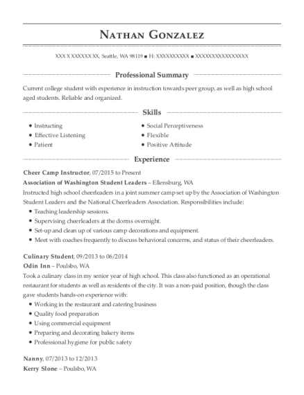 Cheer Camp Instructor resume format Washington