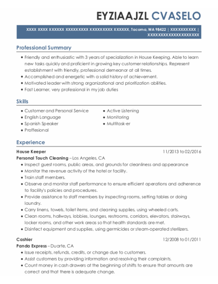 House Keeper resume example Washington