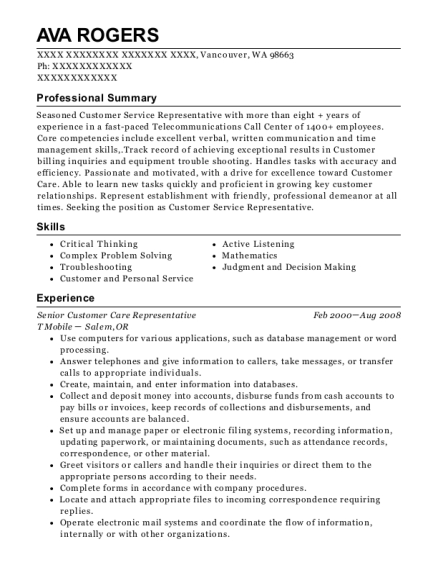Senior Customer Care Representative resume format Washington