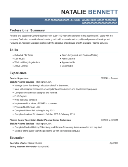 Center Supervisor resume sample Washington