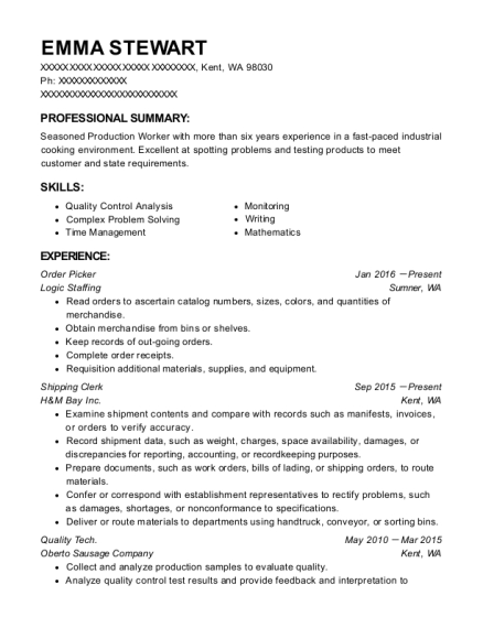 Order Picker resume sample Washington