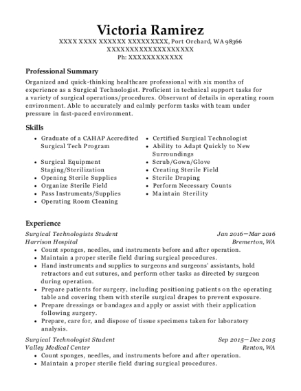 Surgical Technologists Student resume format Washington