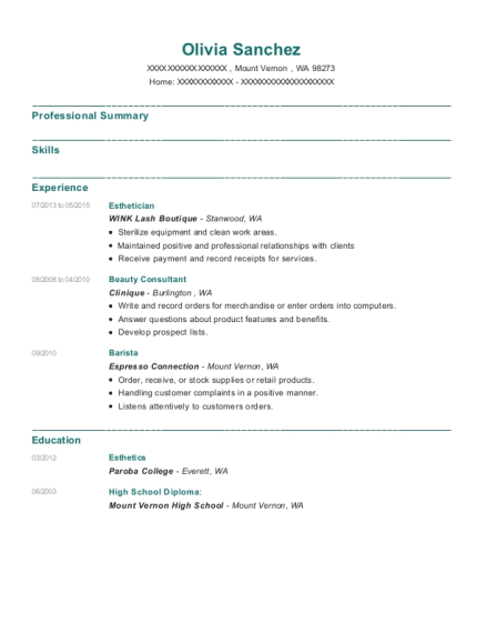Esthetician resume template Washington